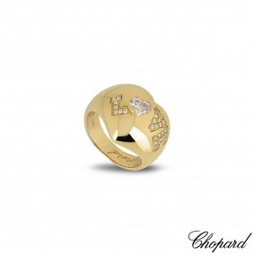 Chopard 18k Yellow Gold Diamond Heart Love Ring 82/3583-0110 Size N